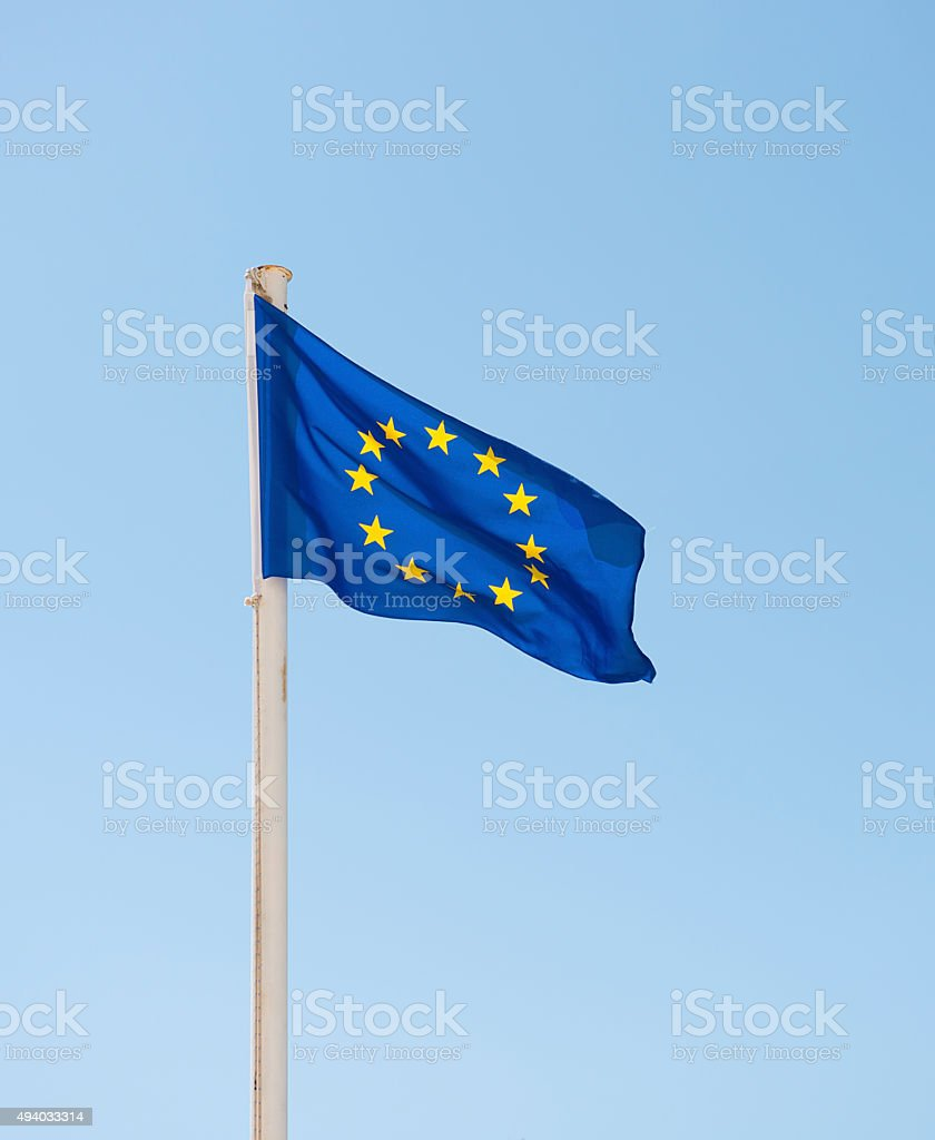 European Union Flag Isolated on Sky stock photo
