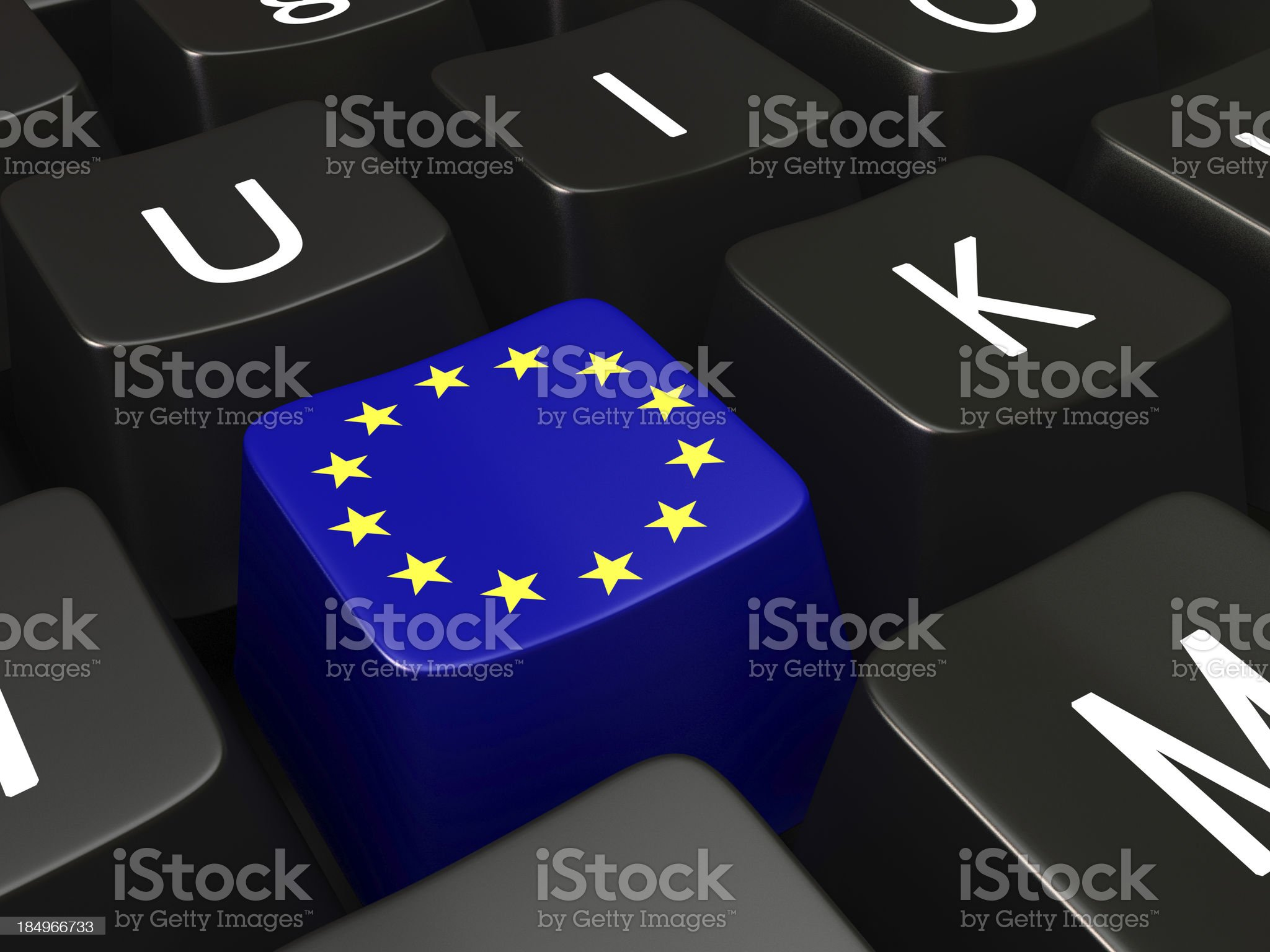 European Union flag on a keyboard royalty-free stock photo