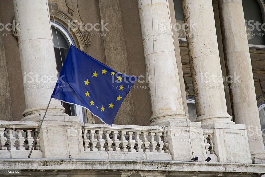 European Union flag on Buda Castle, Budapest royalty-free stock photo