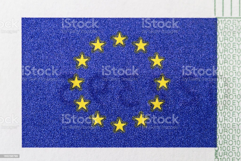 European Union Flag on Paper Currency royalty-free stock photo