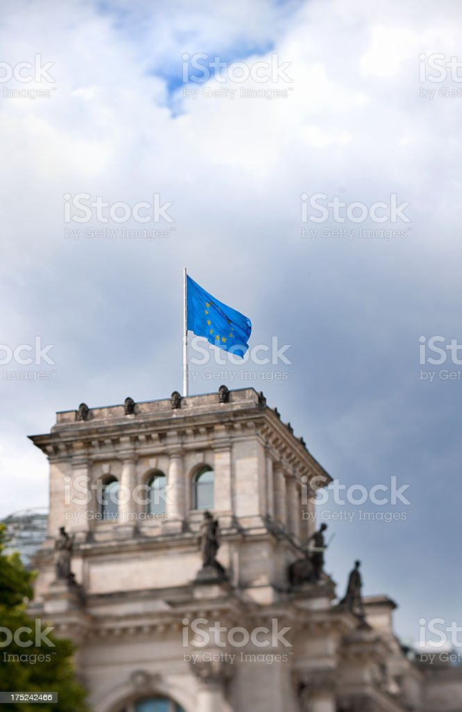 European Union flag on The Reichstag in Berlin Germany royalty-free stock photo