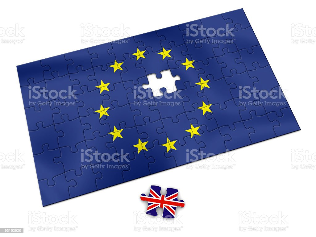 European Union flag puzzle with a British piece missing royalty-free stock photo