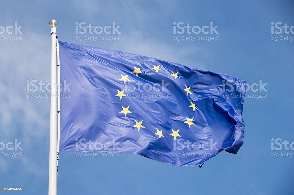 european union flag waving stock photo