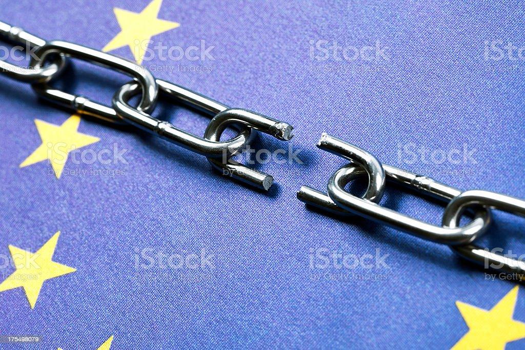 European Union Flag with Broken Chain stock photo