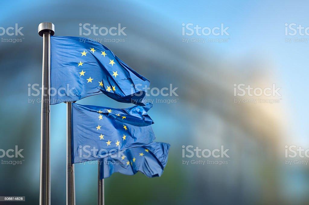European Union flags against European Parliament stock photo