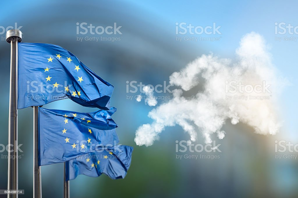 European union flags and map of Europe stock photo