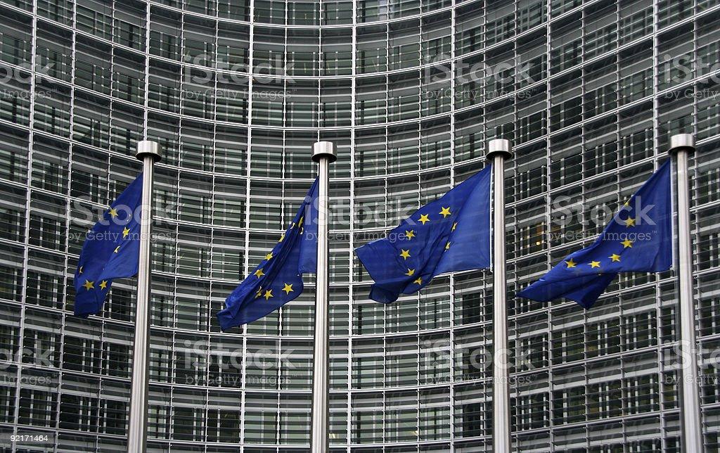 European Union Flags at the Berlaymont royalty-free stock photo