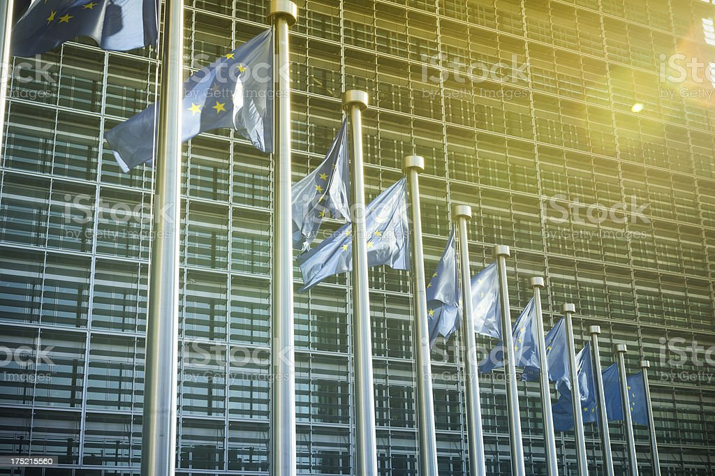European Union flags at the EU Commission in Brussels stock photo