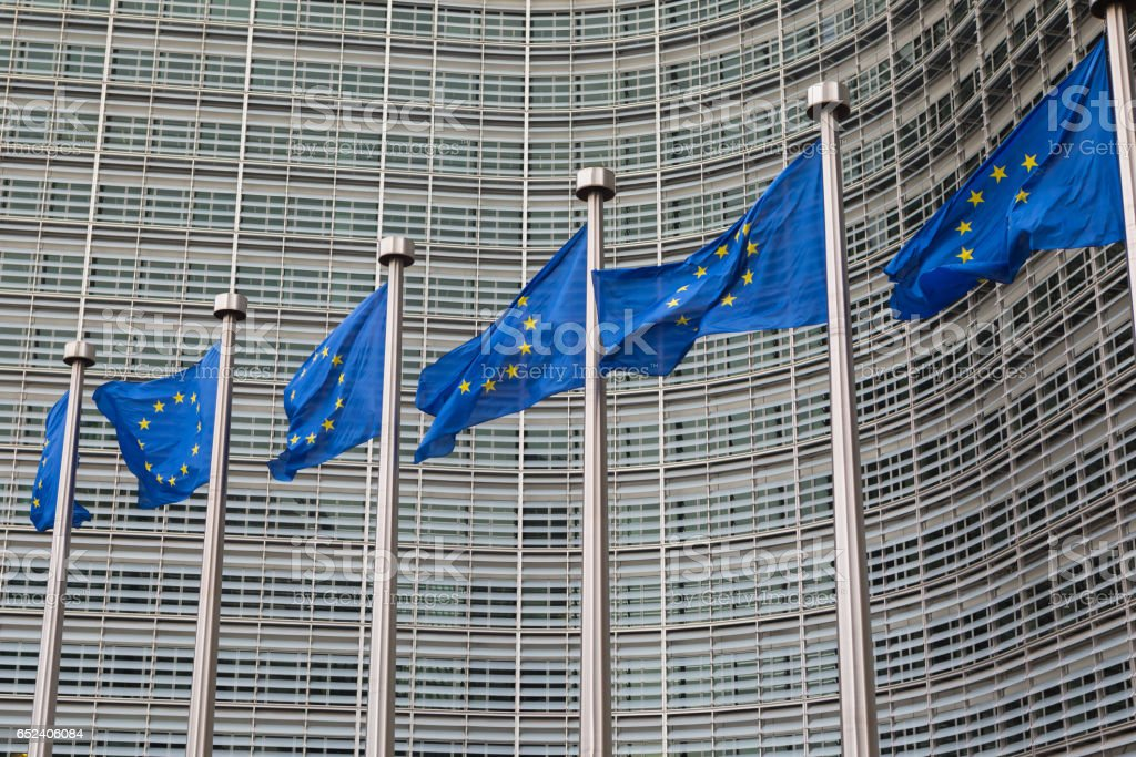 European Union flags flying at the EU headquarters in Brussels stock photo