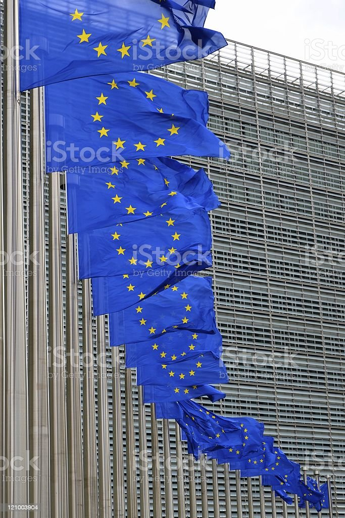 European Union flags on poles at EU headquarters, Brussels stock photo