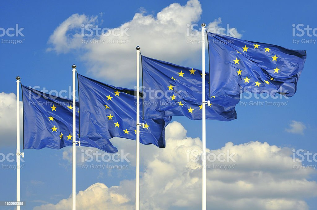 European Union flags royalty-free stock photo