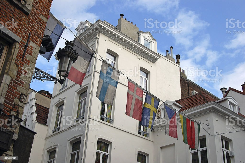 European Union flags. royalty-free stock photo
