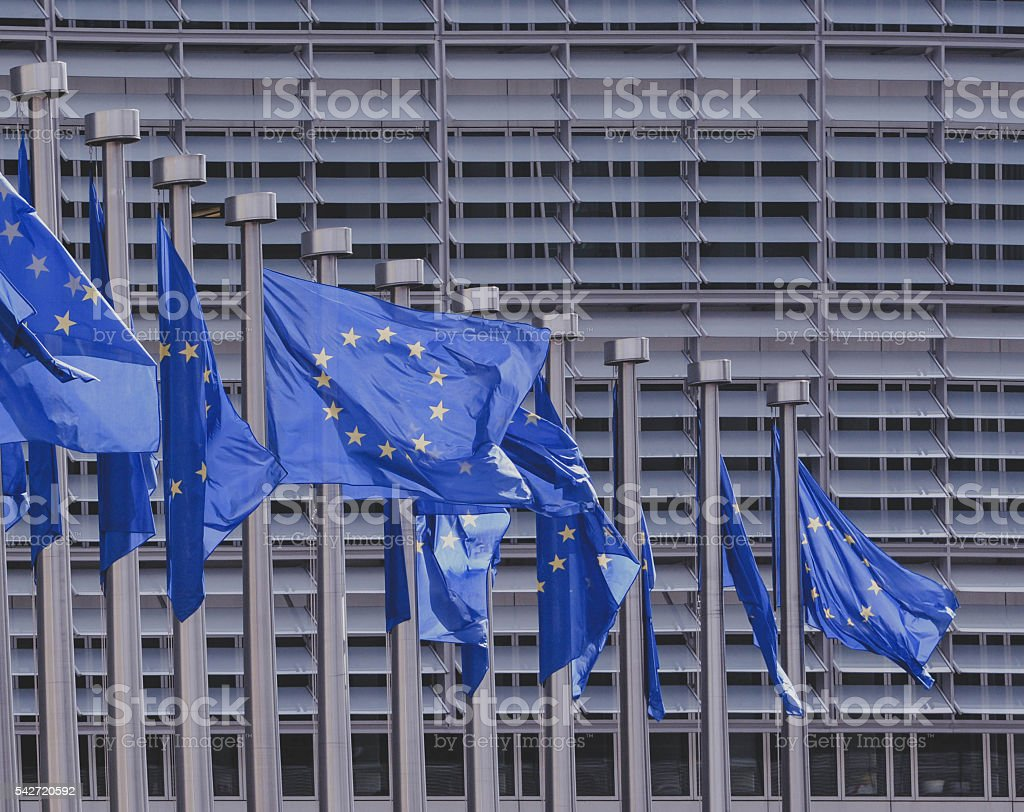 European Union flags.EU headquarters in Brussels stock photo