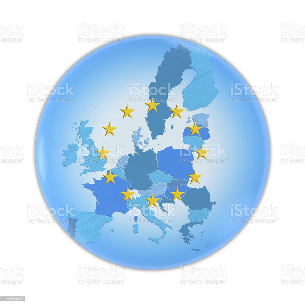 European Union map on a badge royalty-free stock photo