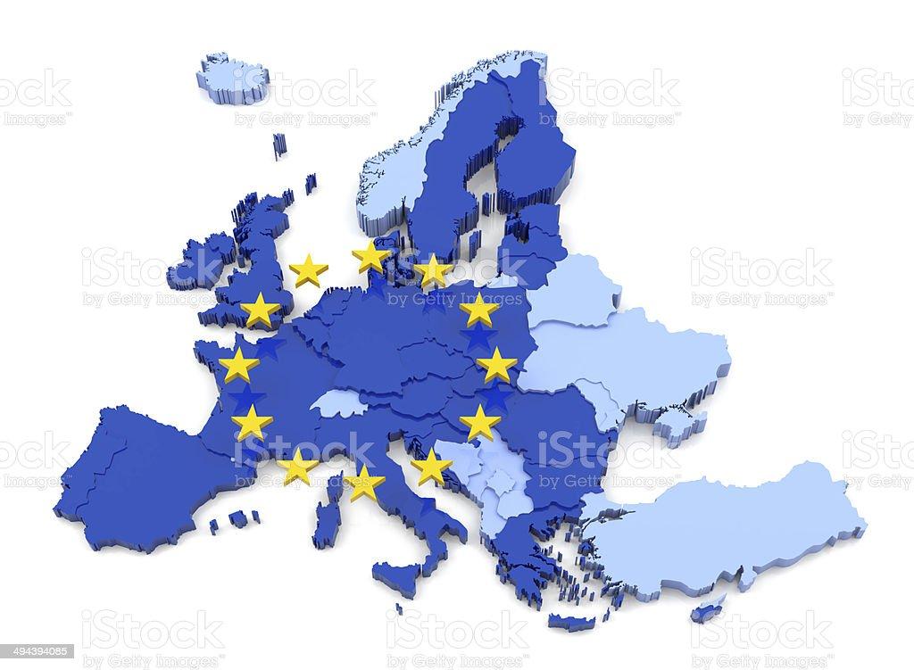 European Union Map with Flag stock photo