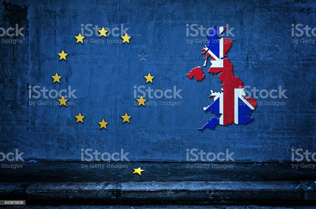 European Union symbol and Great Britain shape - Brexit flag stock photo