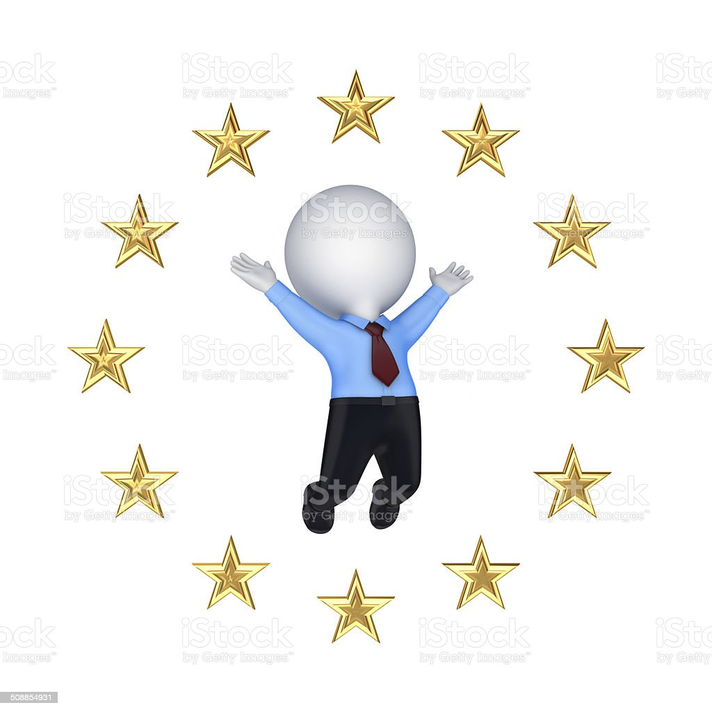 European Union symbol and happy 3d small person. stock photo