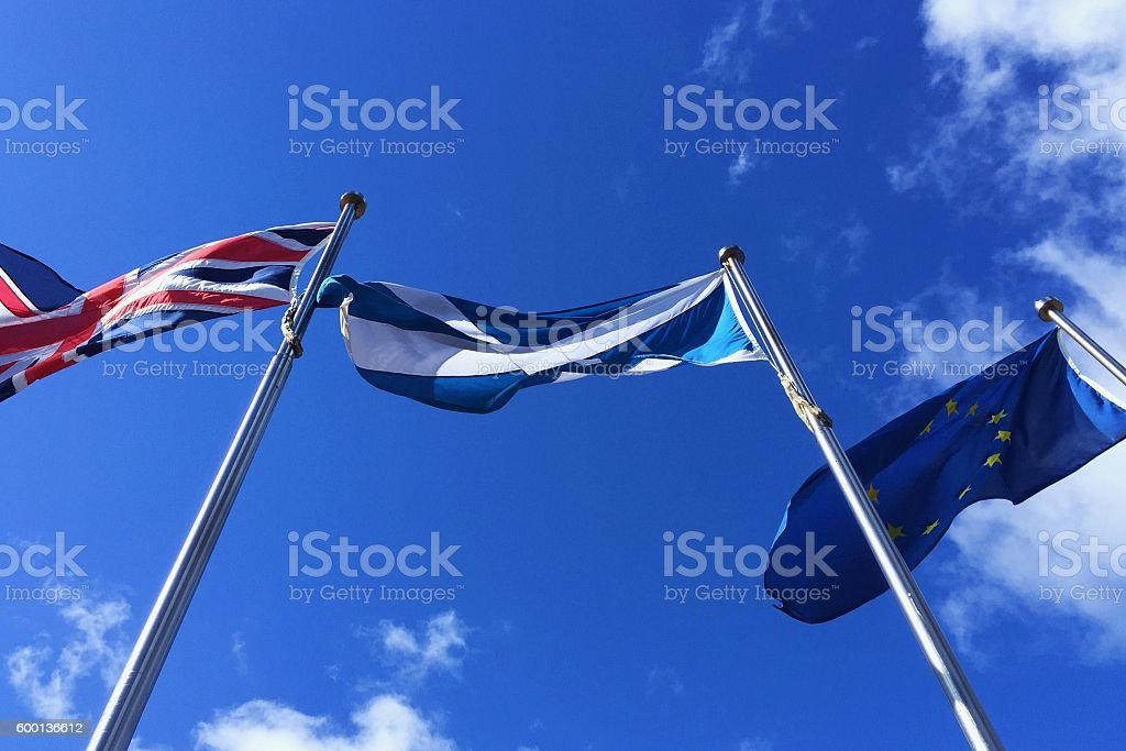 European Union, United Kingdom and Scotland flags - Brexit , Independence stock photo