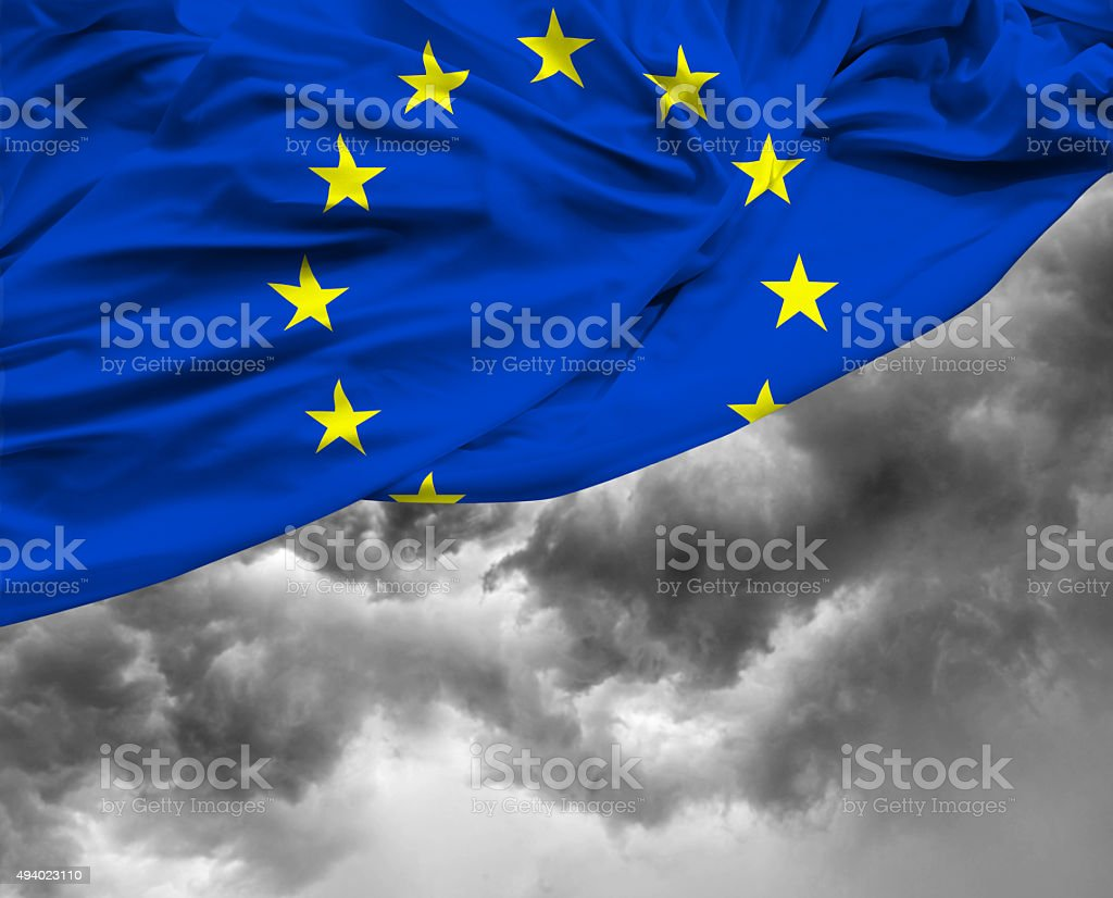 European Union waving flag on bad day stock photo