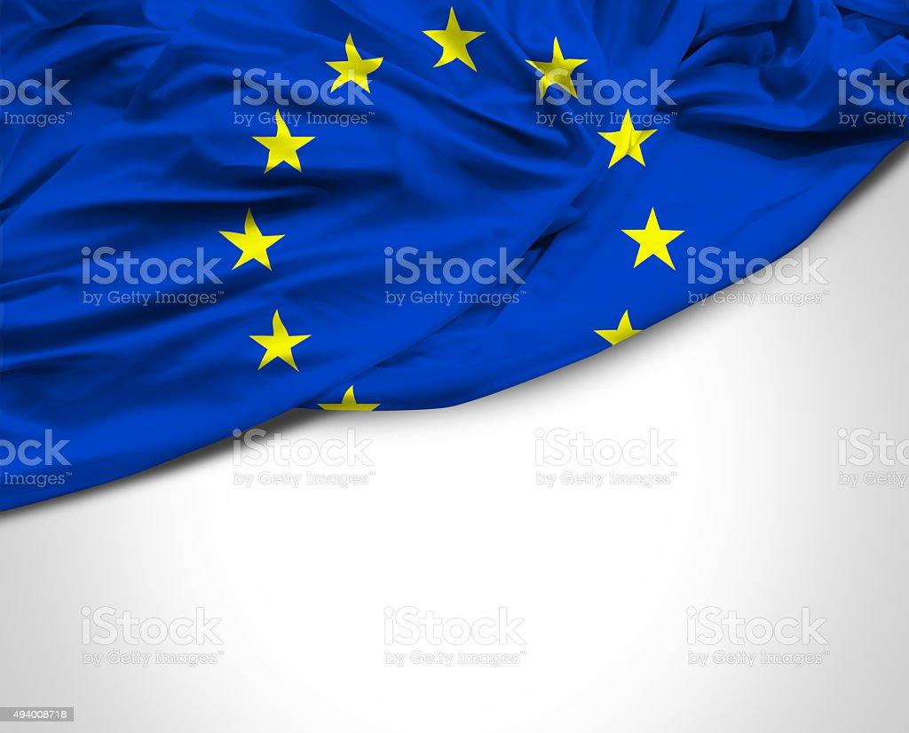 European Union waving flag on white background stock photo
