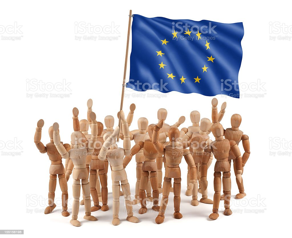 European Union - wooden mannequin group with flag stock photo