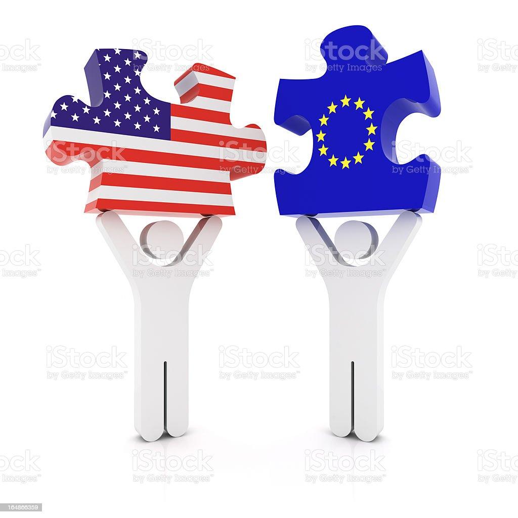 European USA Puzzle Concept stock photo