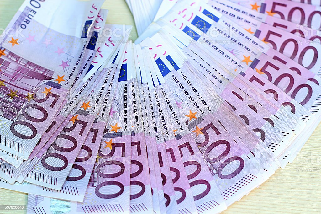 Europian Currency - 500 Euro Banknotes in a Row stock photo