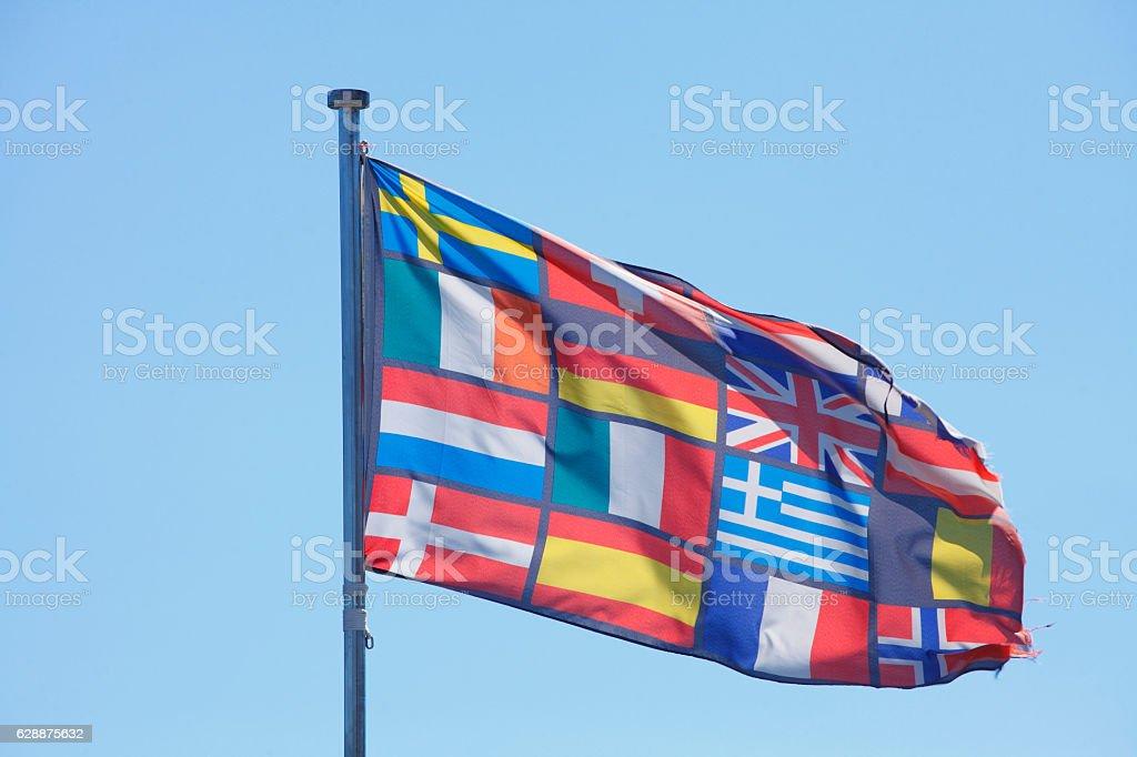Europäische Flaggen stock photo