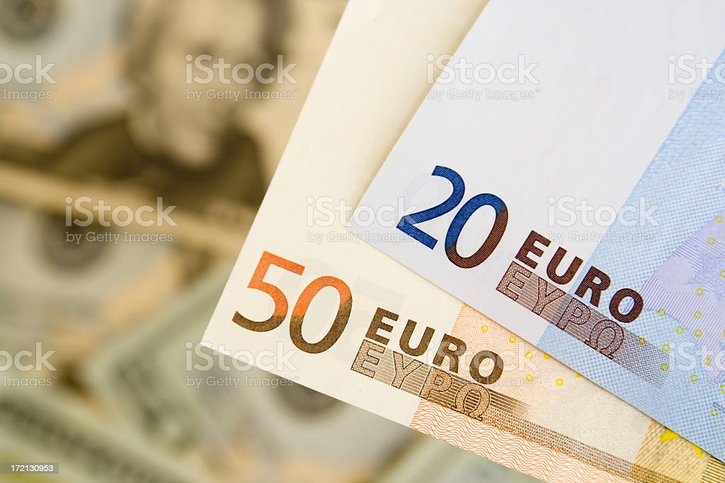 Euros Against Dollars Hz royalty-free stock photo