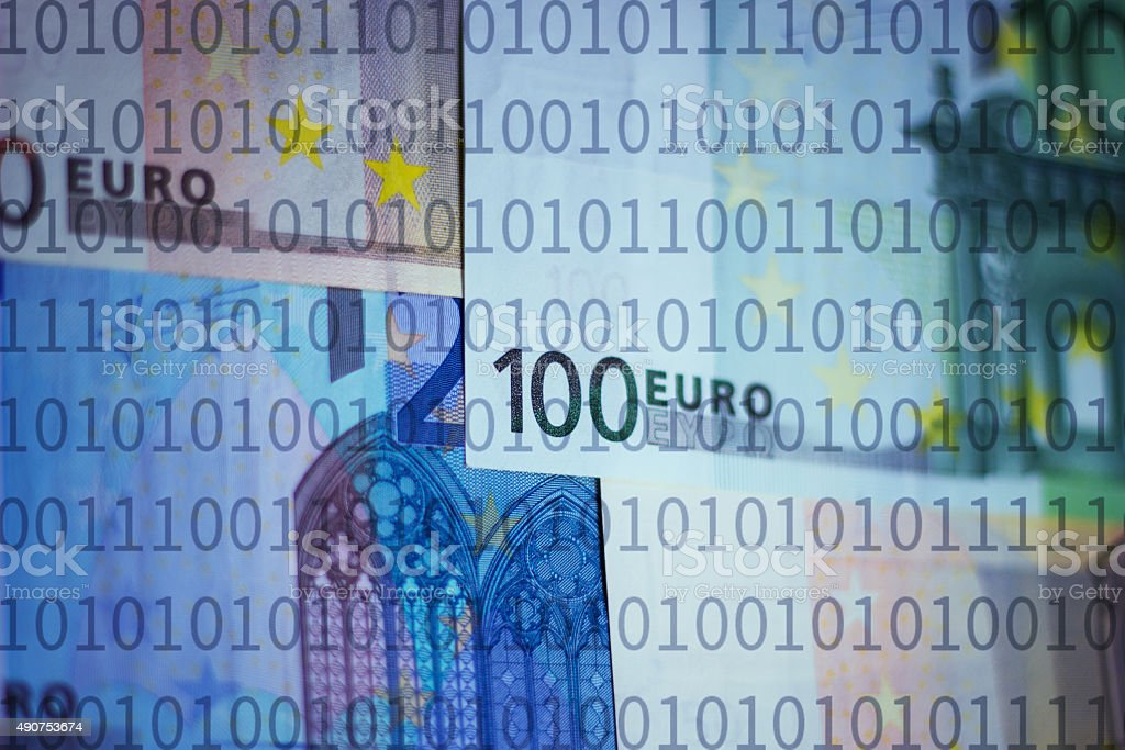 Euros and binary numbers stock photo