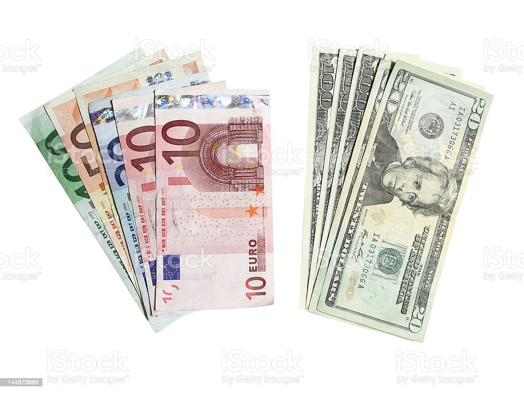 Euros and dollars isolated on white background royalty-free stock photo