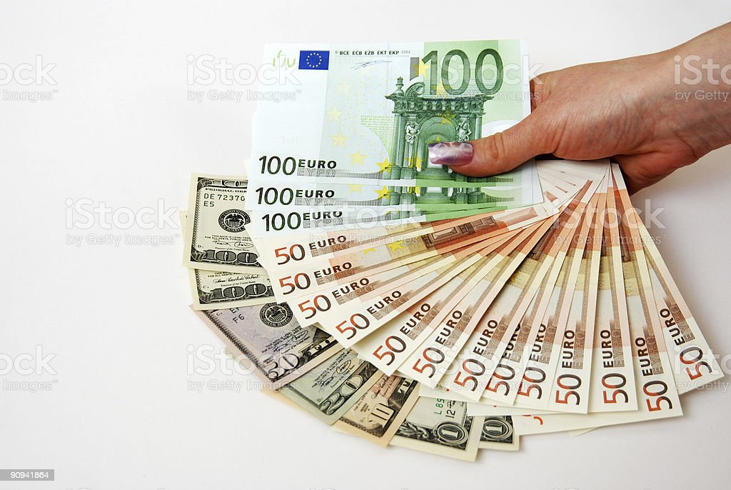 euros and dollars royalty-free stock photo