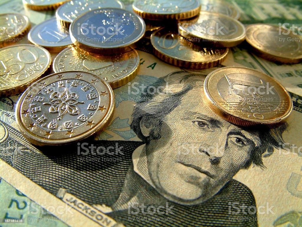 Euros and US dollars stock photo