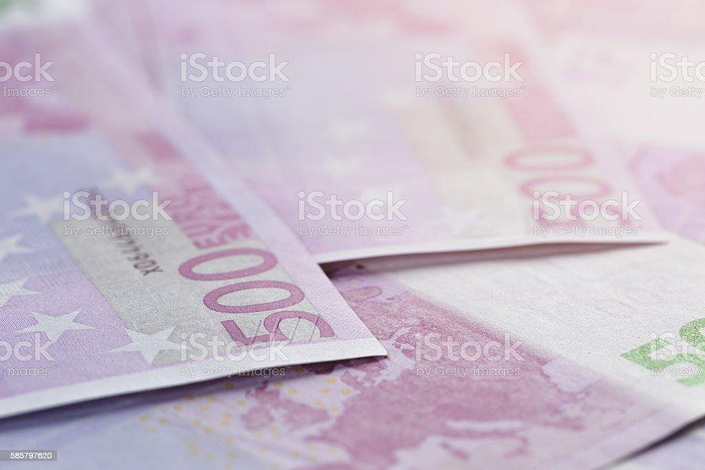 500 euros bills as a background stock photo