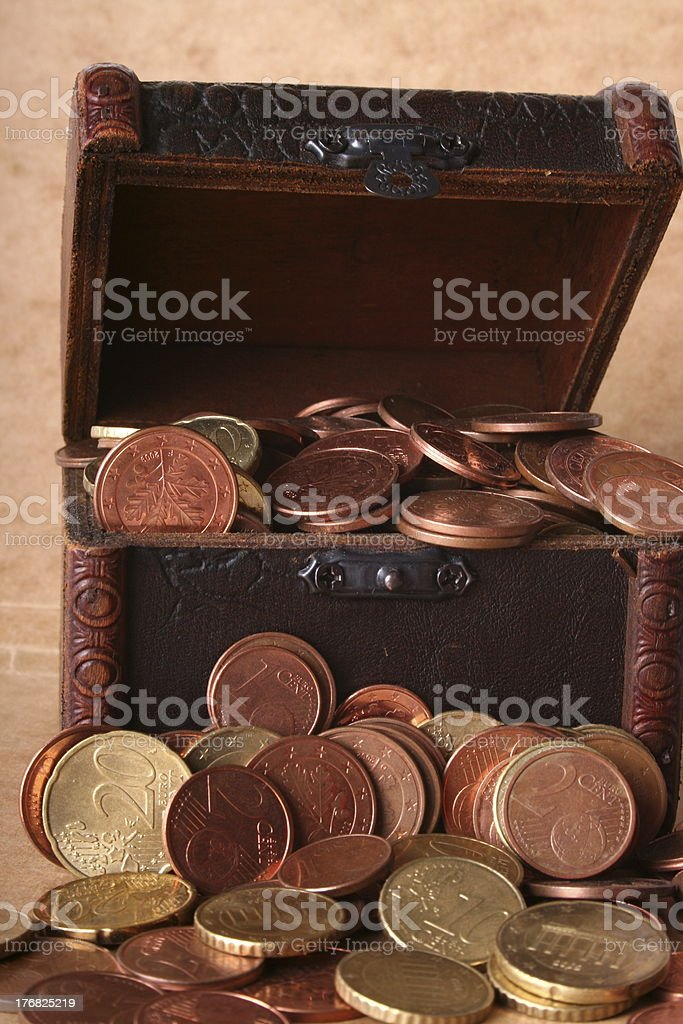 Euros in a treasure chest royalty-free stock photo