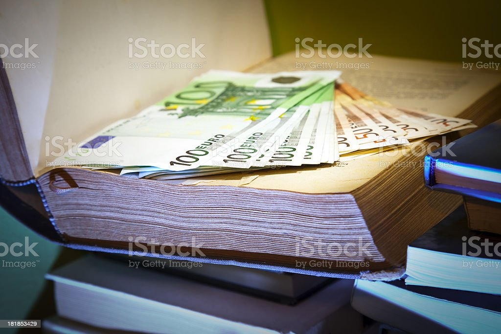 Euros in book royalty-free stock photo