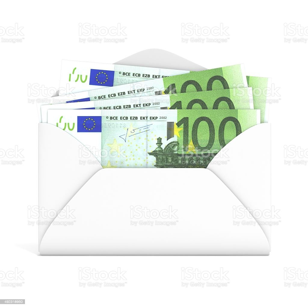 Euros in envelope. Front view. 3D render stock photo