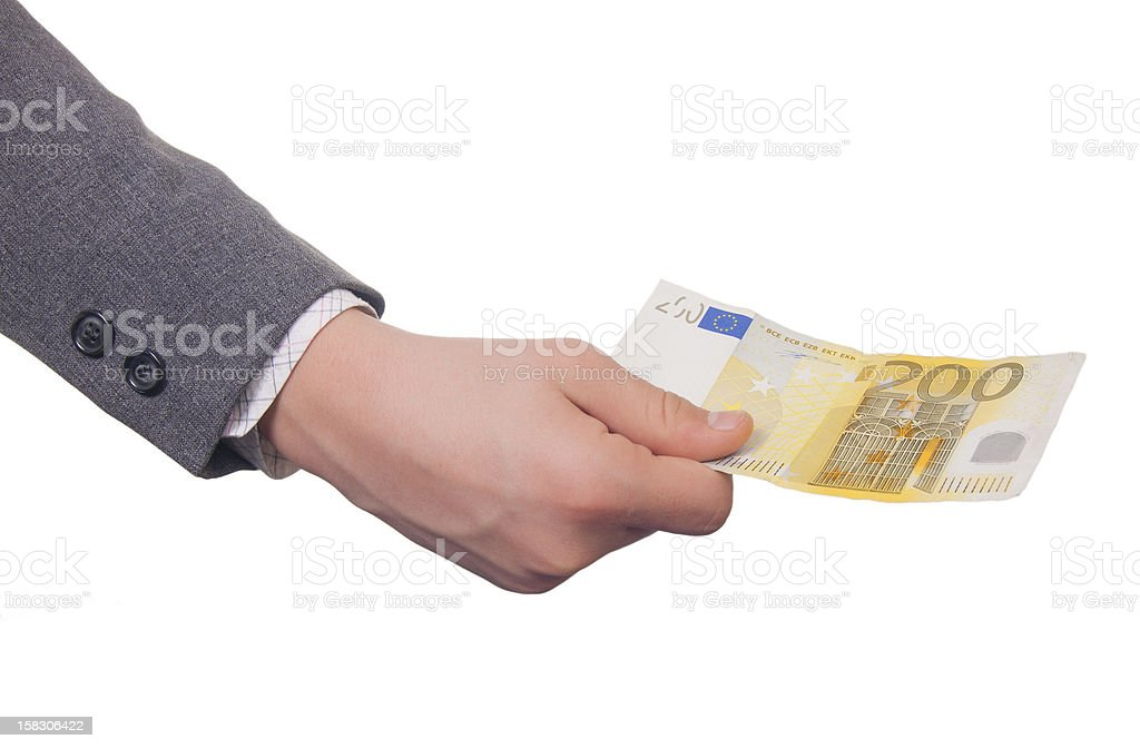 200 Euros In Hand royalty-free stock photo