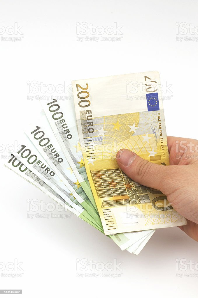 Euros in hand royalty-free stock photo