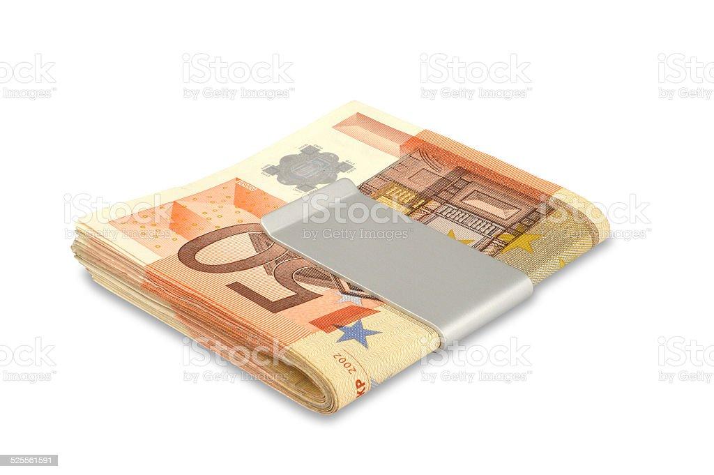 Euros In Money Clip Stock Photos stock photo