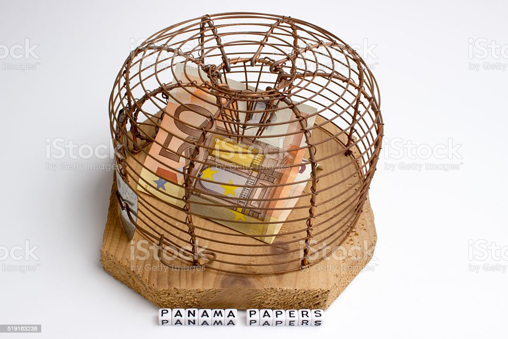 euros in mouse trap panama papers stock photo