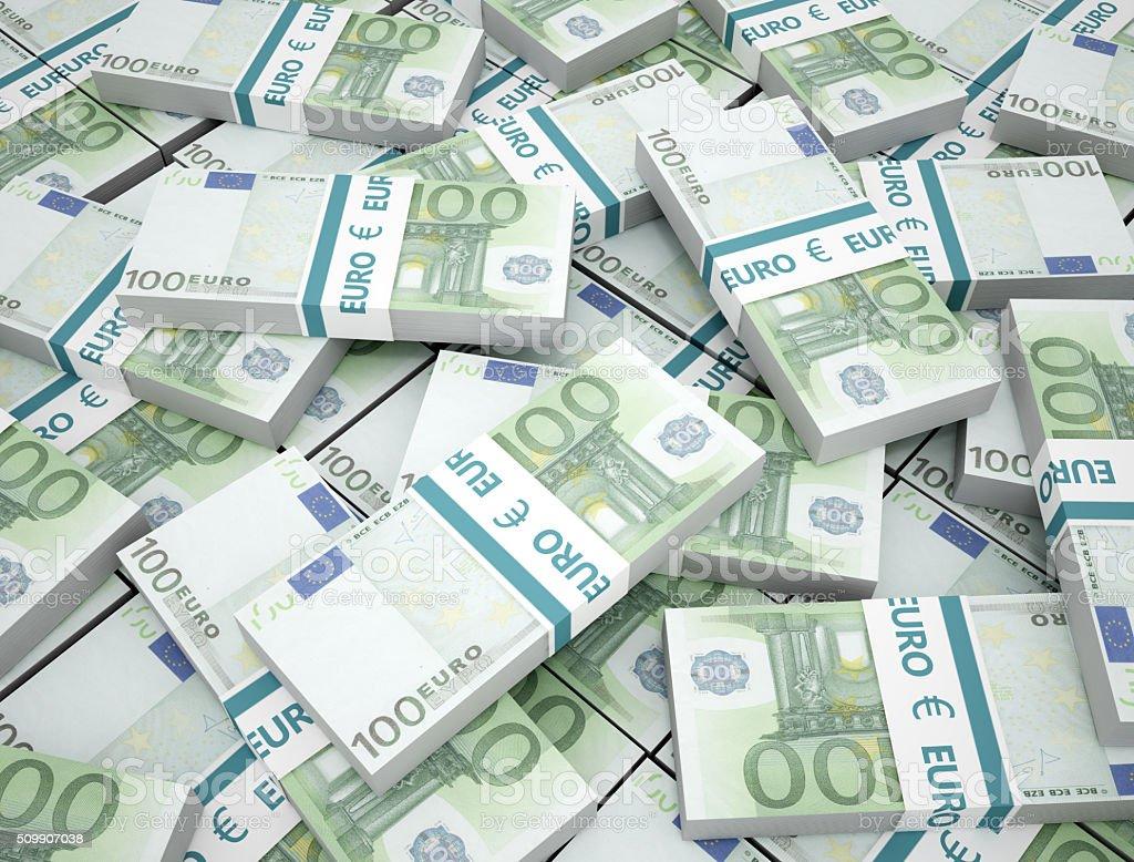 100 Euros money stack stock photo