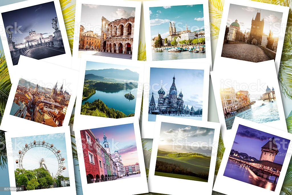 Eurotrip memories shown on polaroid photos - summer vacations stock photo