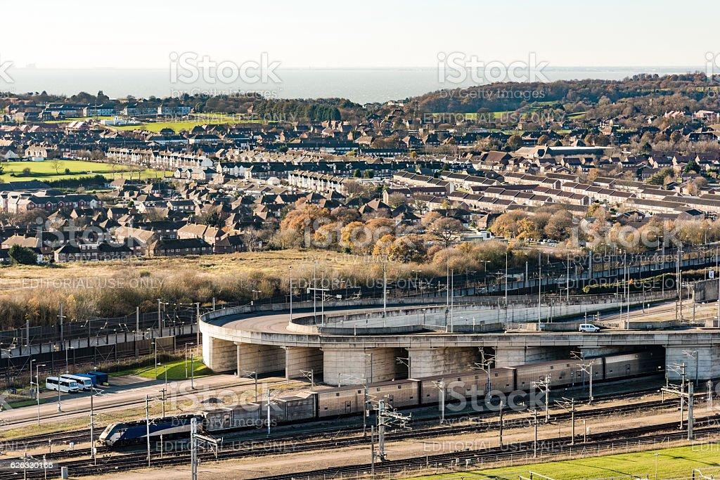 Eurotunnel - Channel Train and Folkestone terminal stock photo