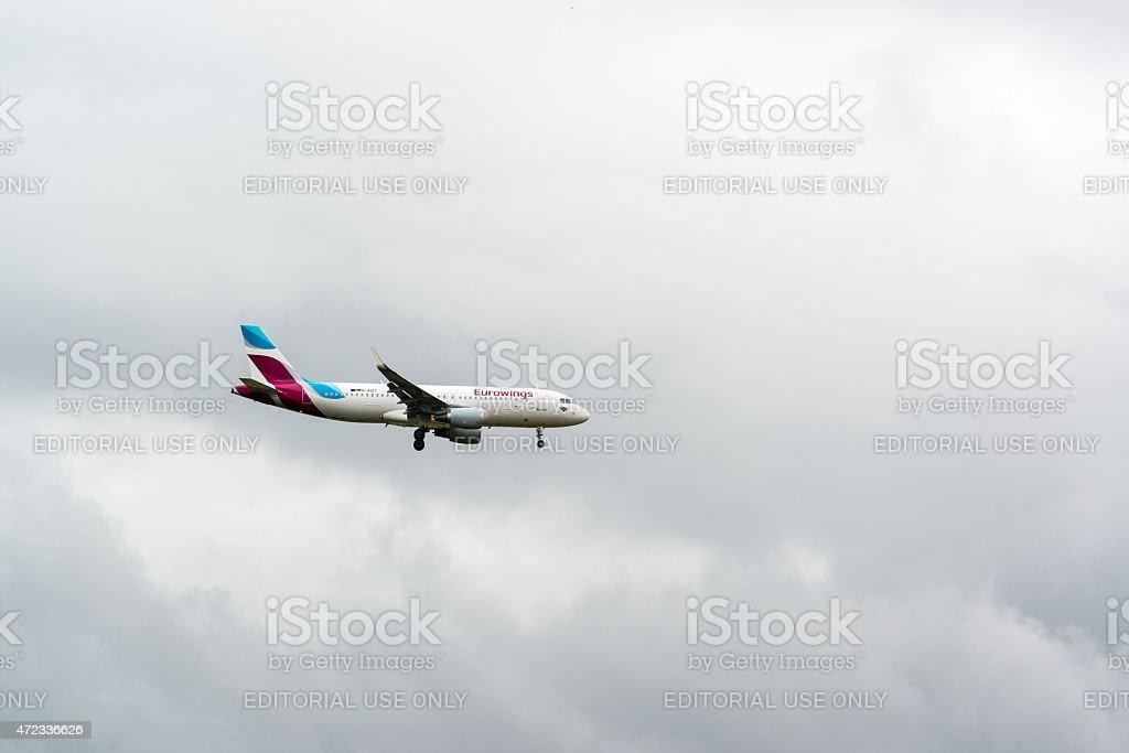 Eurowings airplane approaching Stuttgart stock photo