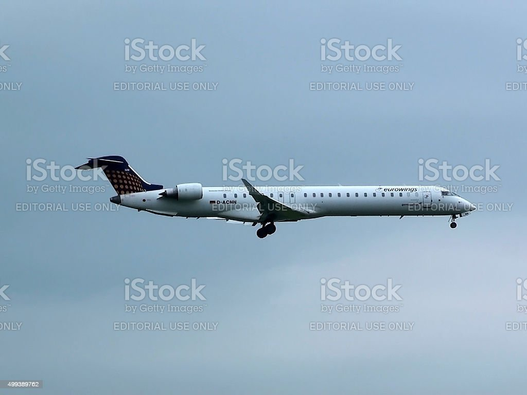 Eurowings Canadair Airplane Descending For Landing At Schiphol Amsterdam stock photo