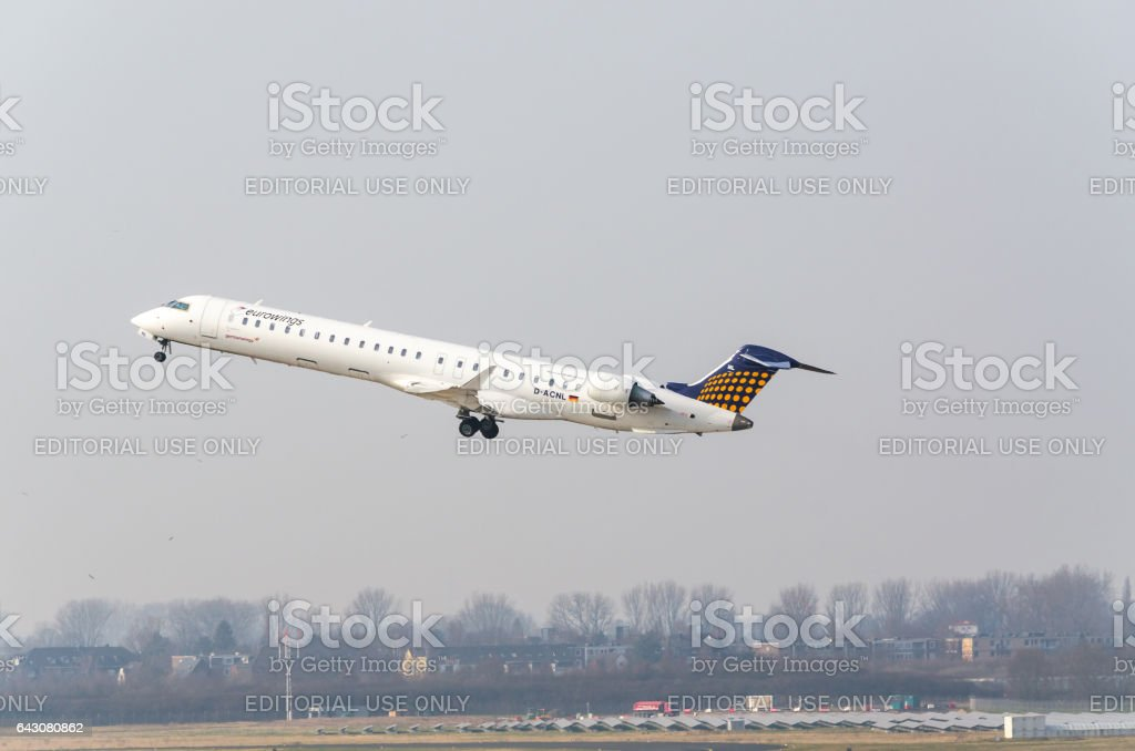 Eurowings Canadair Regional Jet  beim Startvorgang stock photo