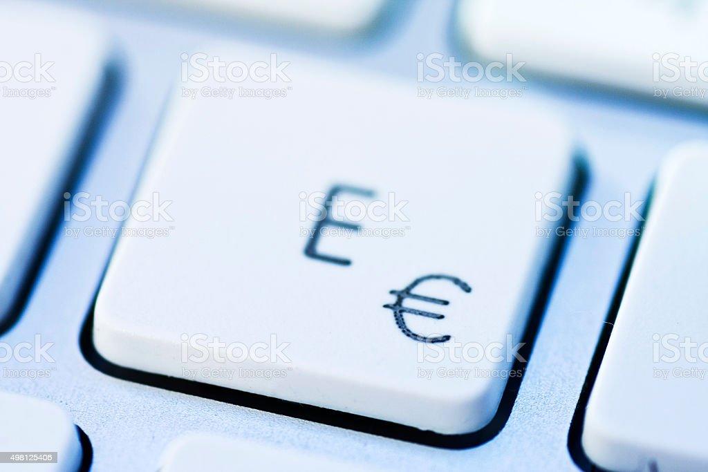 Eurozeichen auf einer deutschen Tastatur stock photo