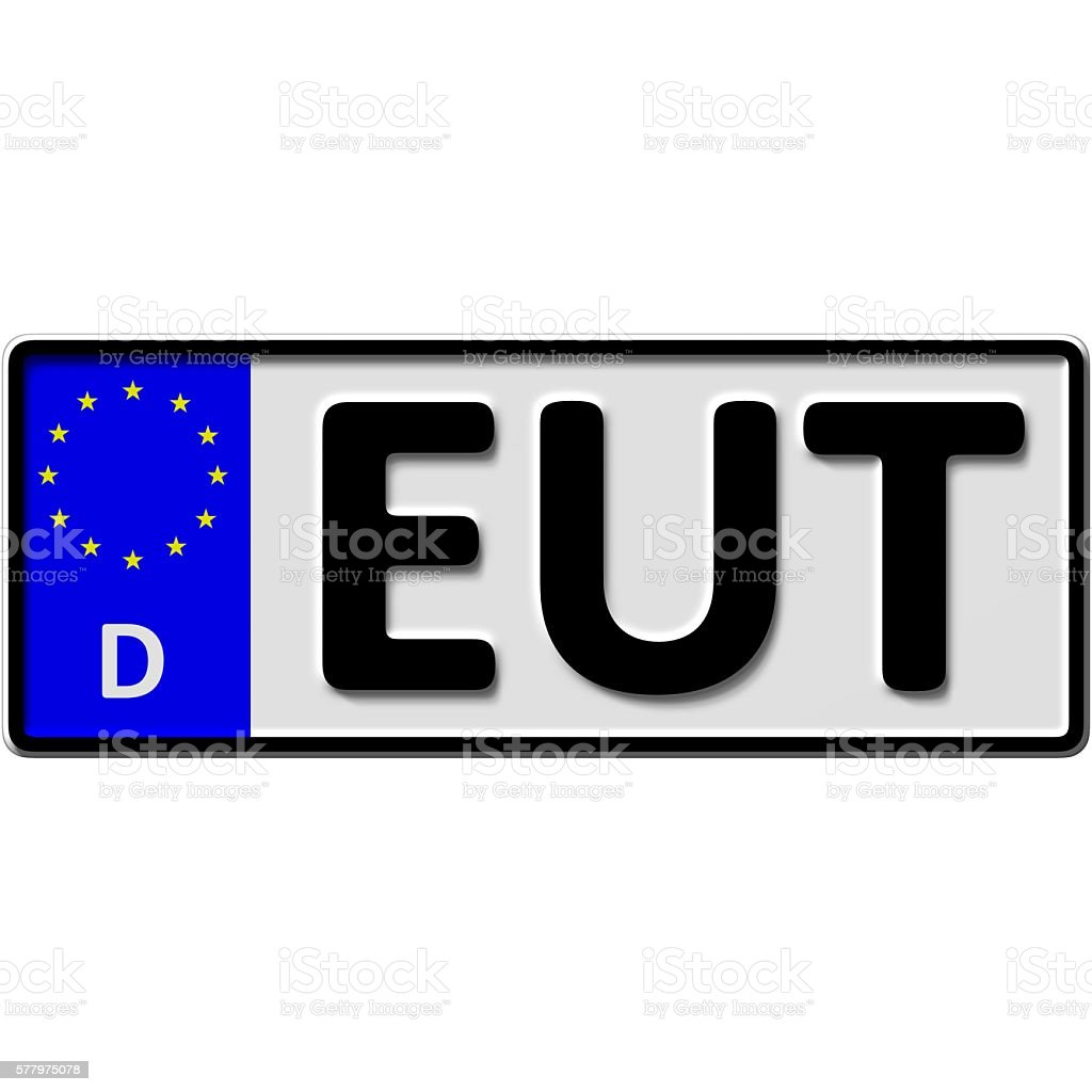 Eutin license plate number stock photo