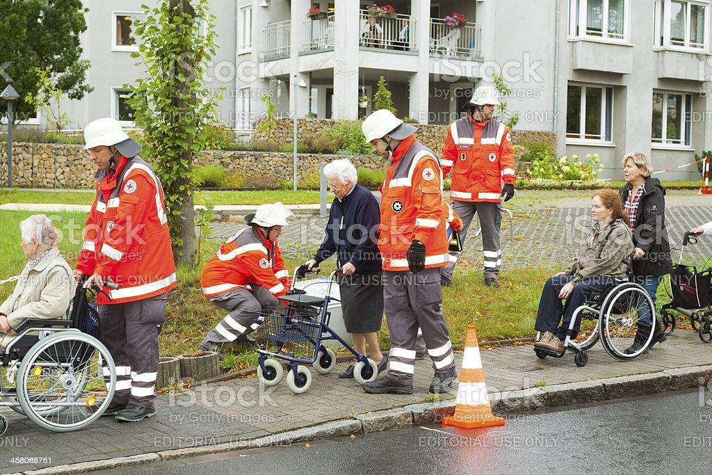 Evacuation of nursing home stock photo